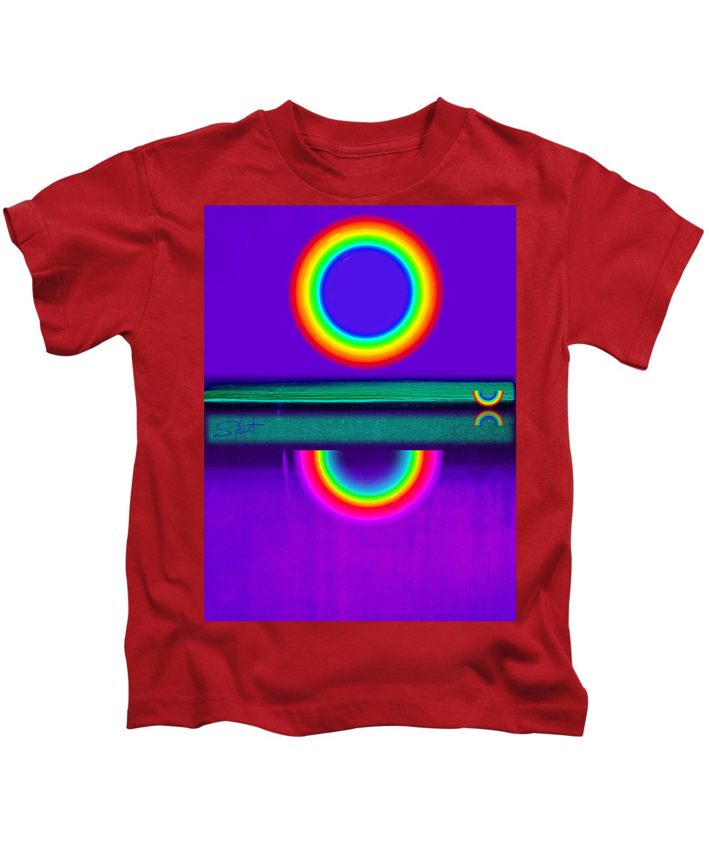 Reflections Kids T-Shirt featuring the painting Sunset On Violet by Charles Stuart