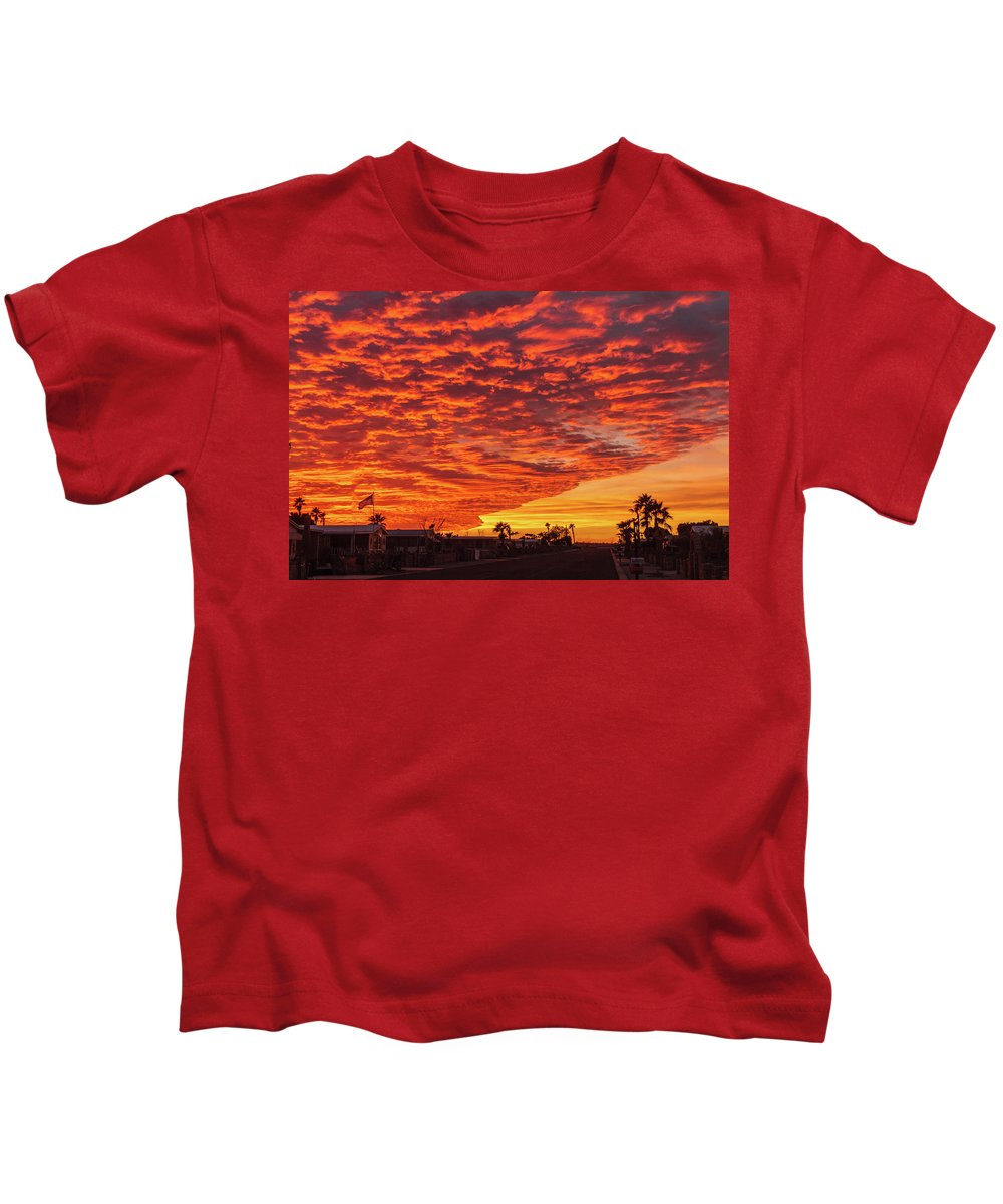 Sunrise Kids T-Shirt featuring the photograph Sunset Wave by Robert Bales