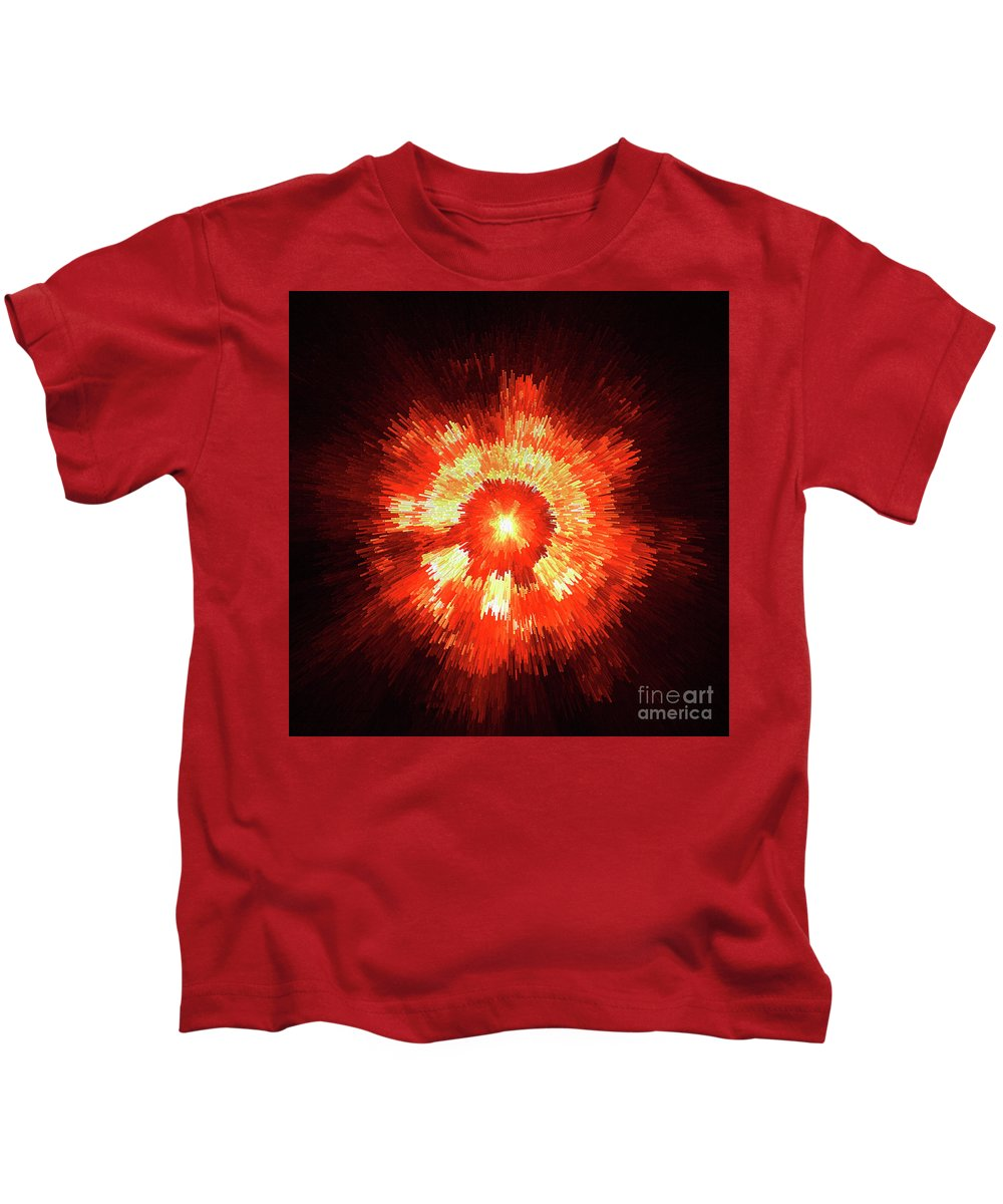 Supernova Genesis Big Bang Ray X-ray Explosion Abstract Beam Universe Expressionism Dynamic Energy Power Color Colorful Red Yellow Modern Sun Sf Kids T-Shirt featuring the digital art Supernova by Steve K