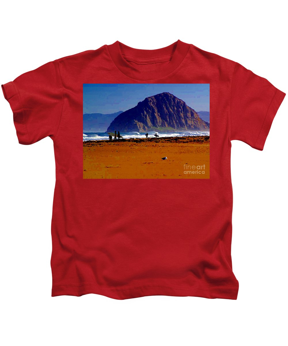 Surfers On Morro Rock Beach Kids T-Shirt featuring the painting Surfers On Morro Rock Beach by R Muirhead Art