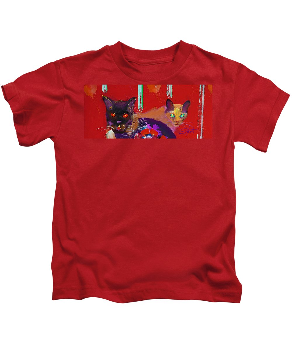 Cat Kids T-Shirt featuring the painting Suspicious Minds by Charles Stuart