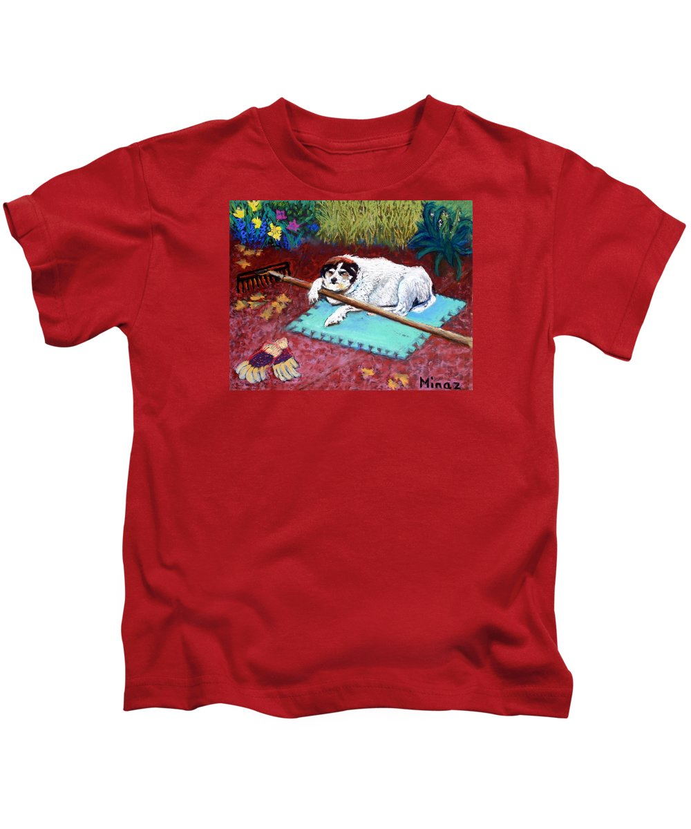 Dog Kids T-Shirt featuring the painting Take A Break by Minaz Jantz
