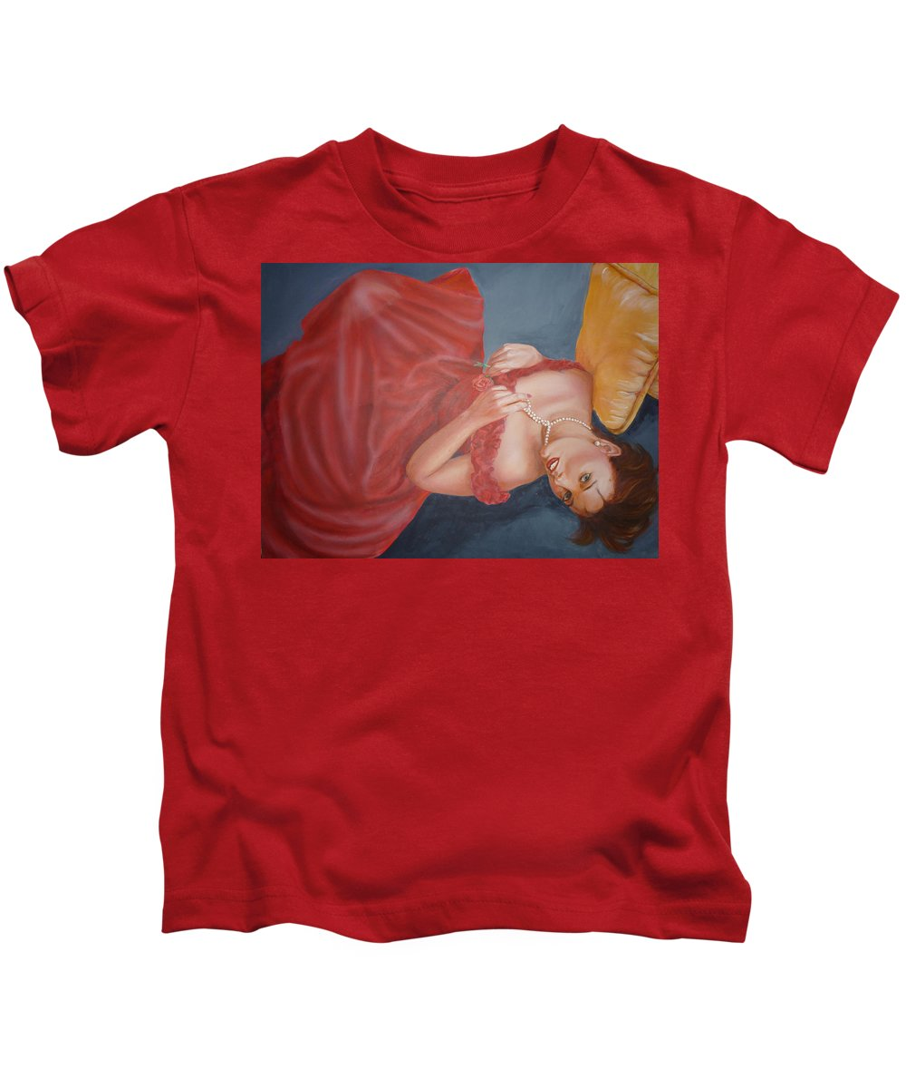 Romantic Kids T-Shirt featuring the painting Tammy by Bryan Bustard