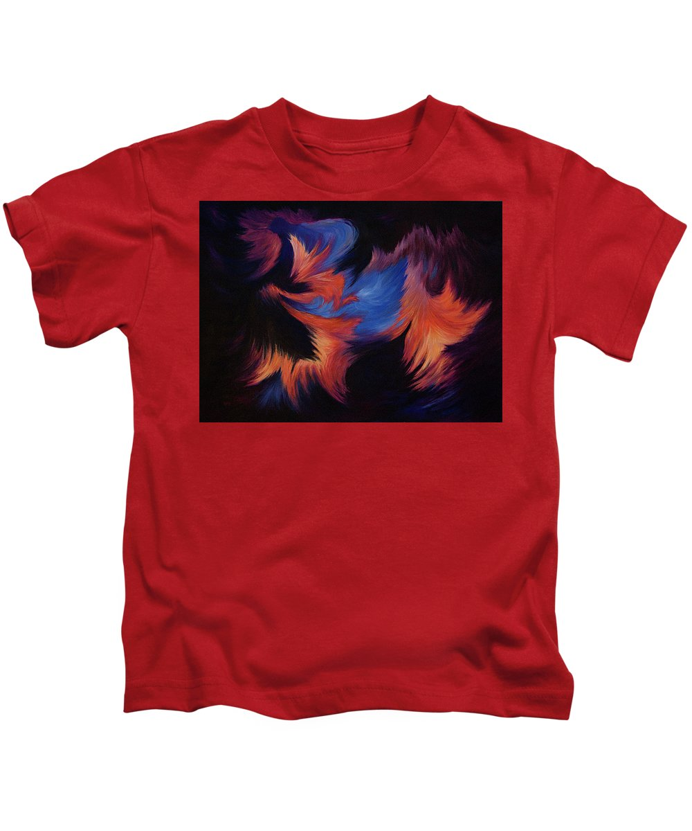 Abstract Kids T-Shirt featuring the painting Tempest by Rachel Christine Nowicki