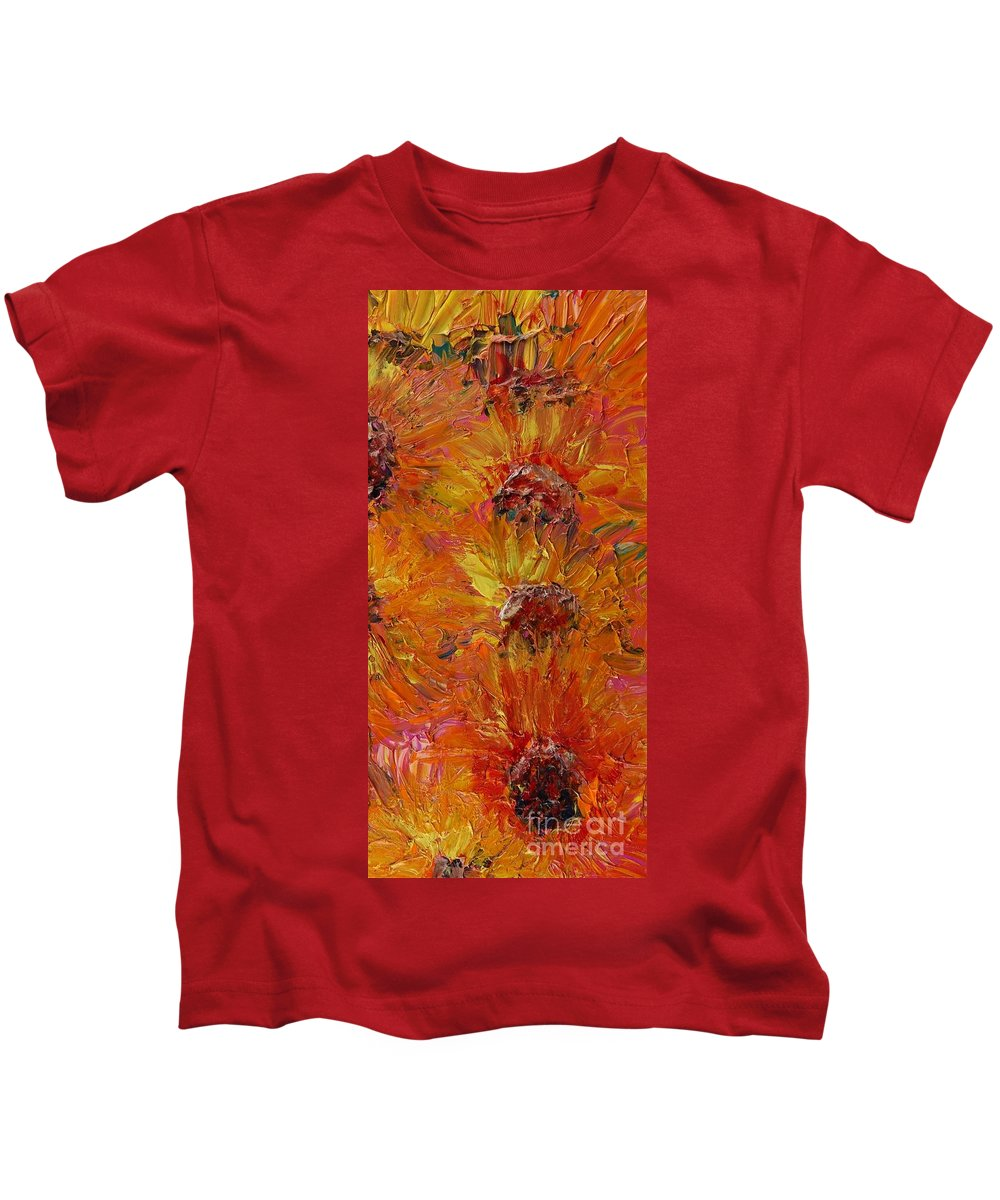 Sunflowers Kids T-Shirt featuring the painting Textured Sunflowers by Nadine Rippelmeyer