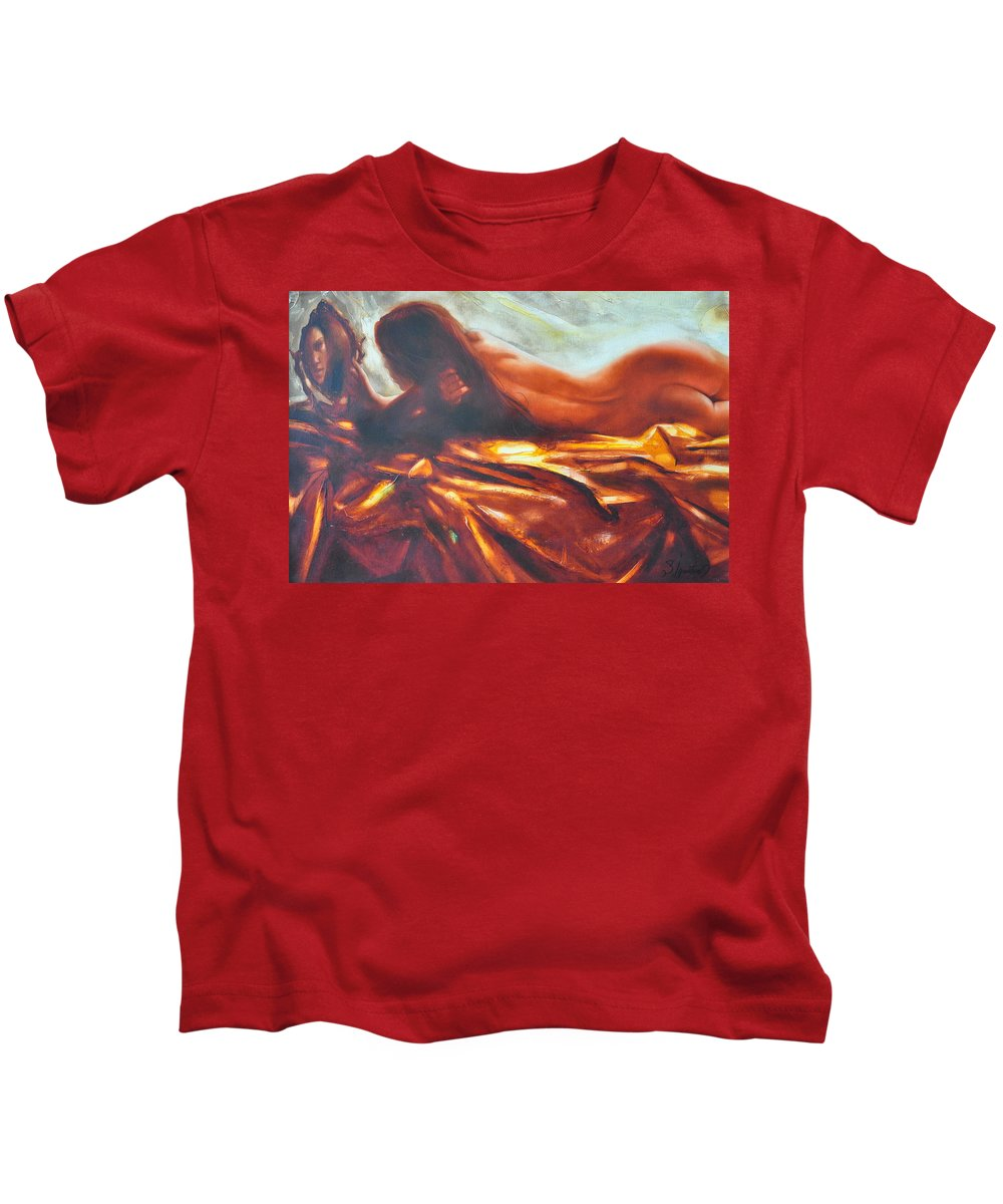 Painting Kids T-Shirt featuring the painting The Amber Speck Of Light by Sergey Ignatenko