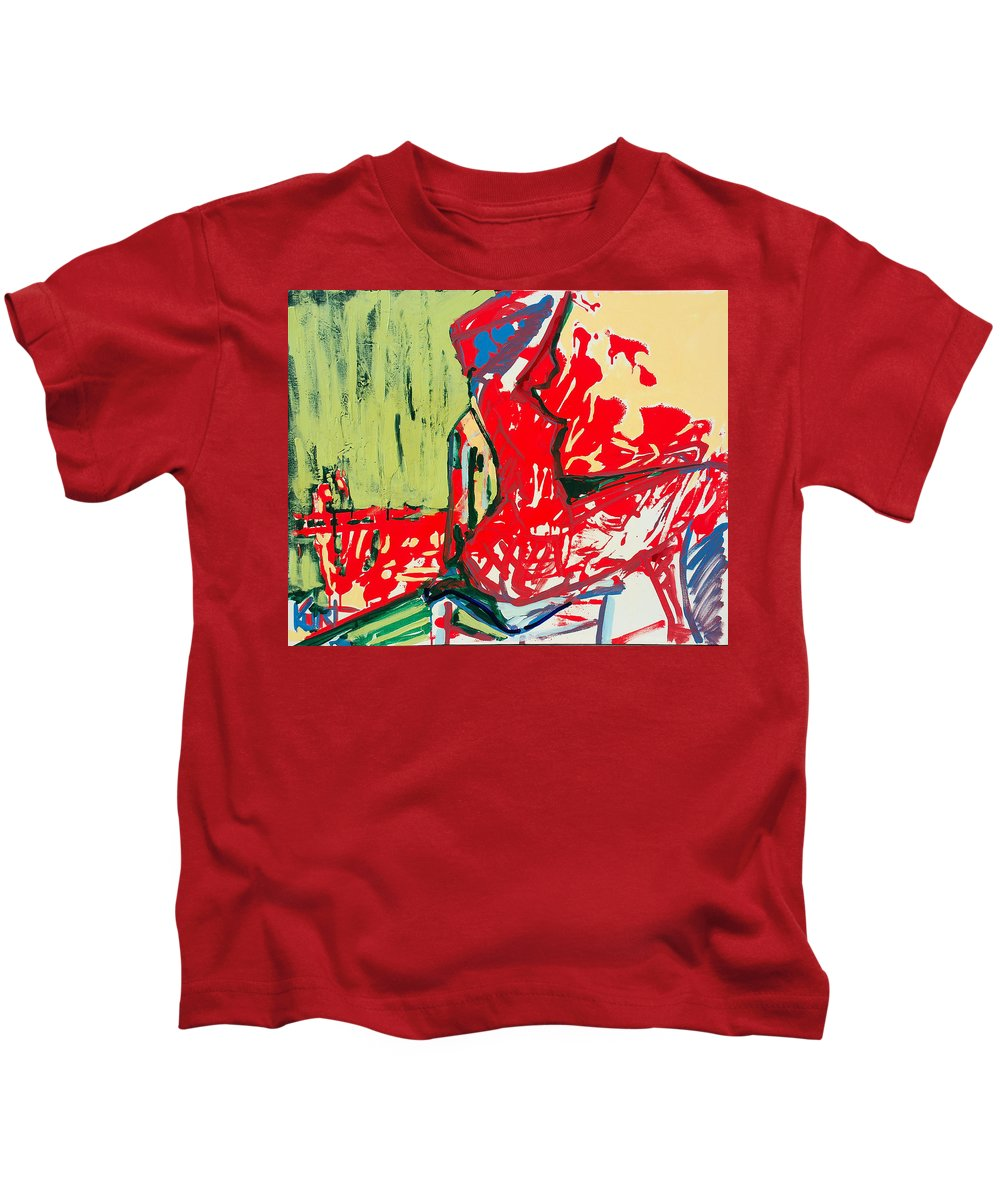 Woman Kids T-Shirt featuring the painting The Blue Chair by Kurt Hausmann