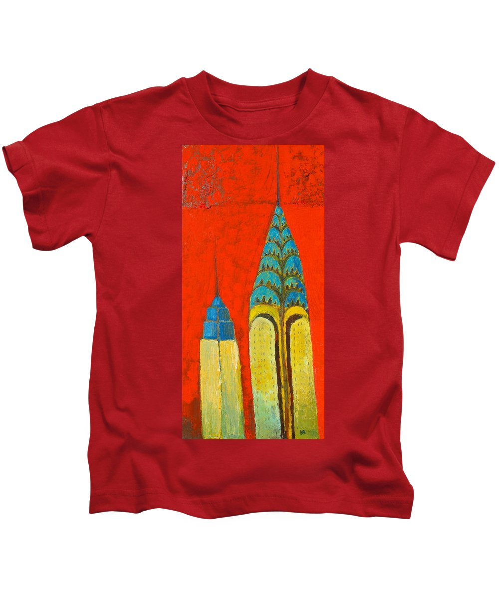 Kids T-Shirt featuring the painting The Chrysler And The Empire State by Habib Ayat