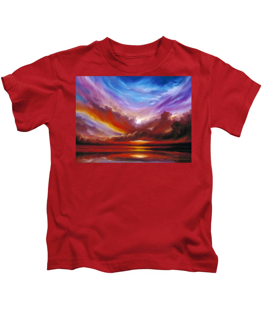 Skyscape Kids T-Shirt featuring the painting The Cosmic Storm II by James Christopher Hill