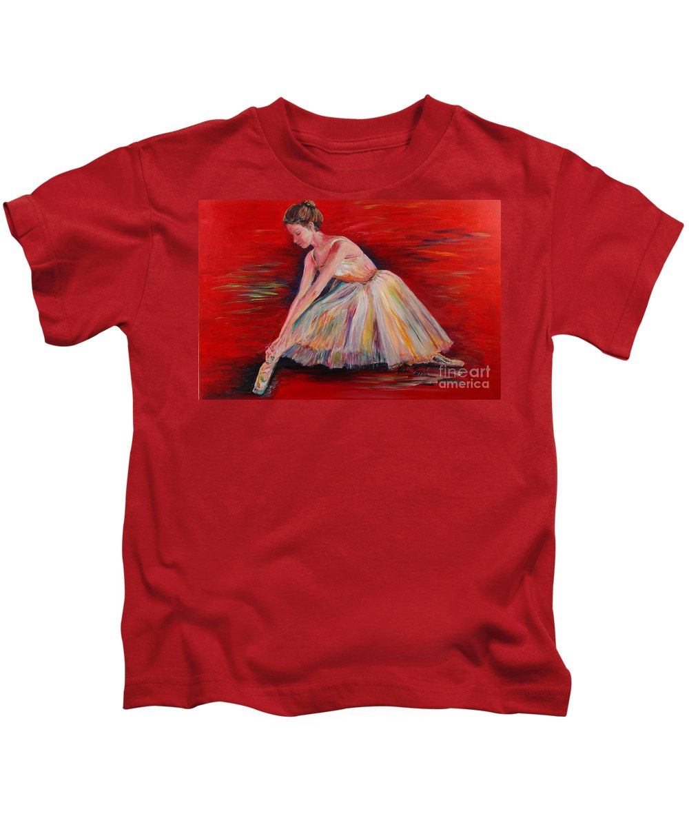 Dancer Kids T-Shirt featuring the painting The Dancer by Nadine Rippelmeyer