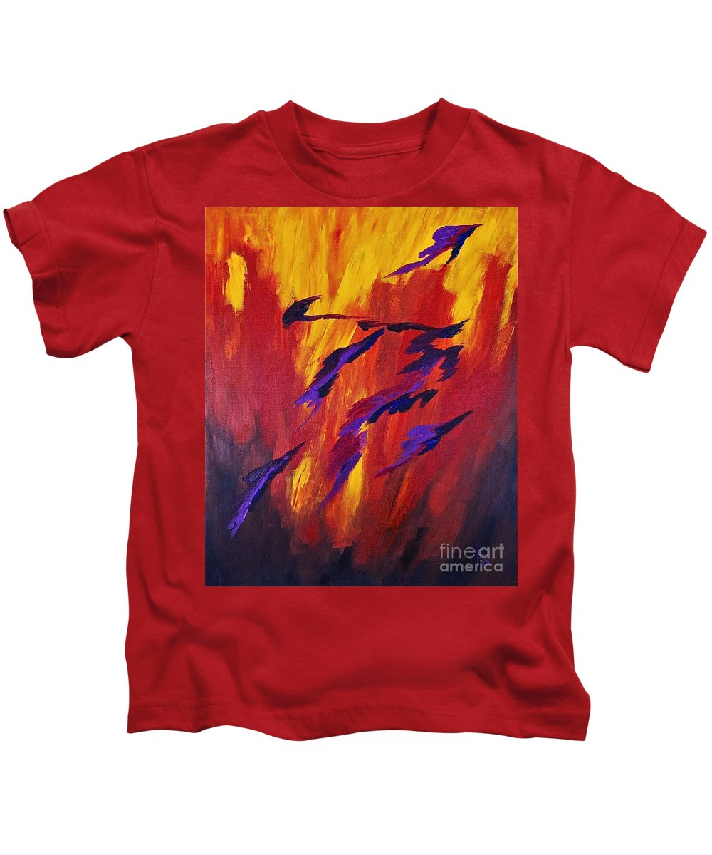 Abstract By Herschel Fall Deep Colors Red Hot Kids T-Shirt featuring the painting The Fire Of Life by Herschel Fall