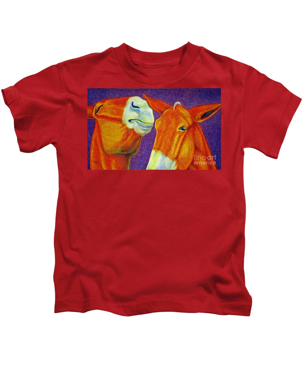 Color Pencil Kids T-Shirt featuring the drawing The Gossip by Suzanne McKee