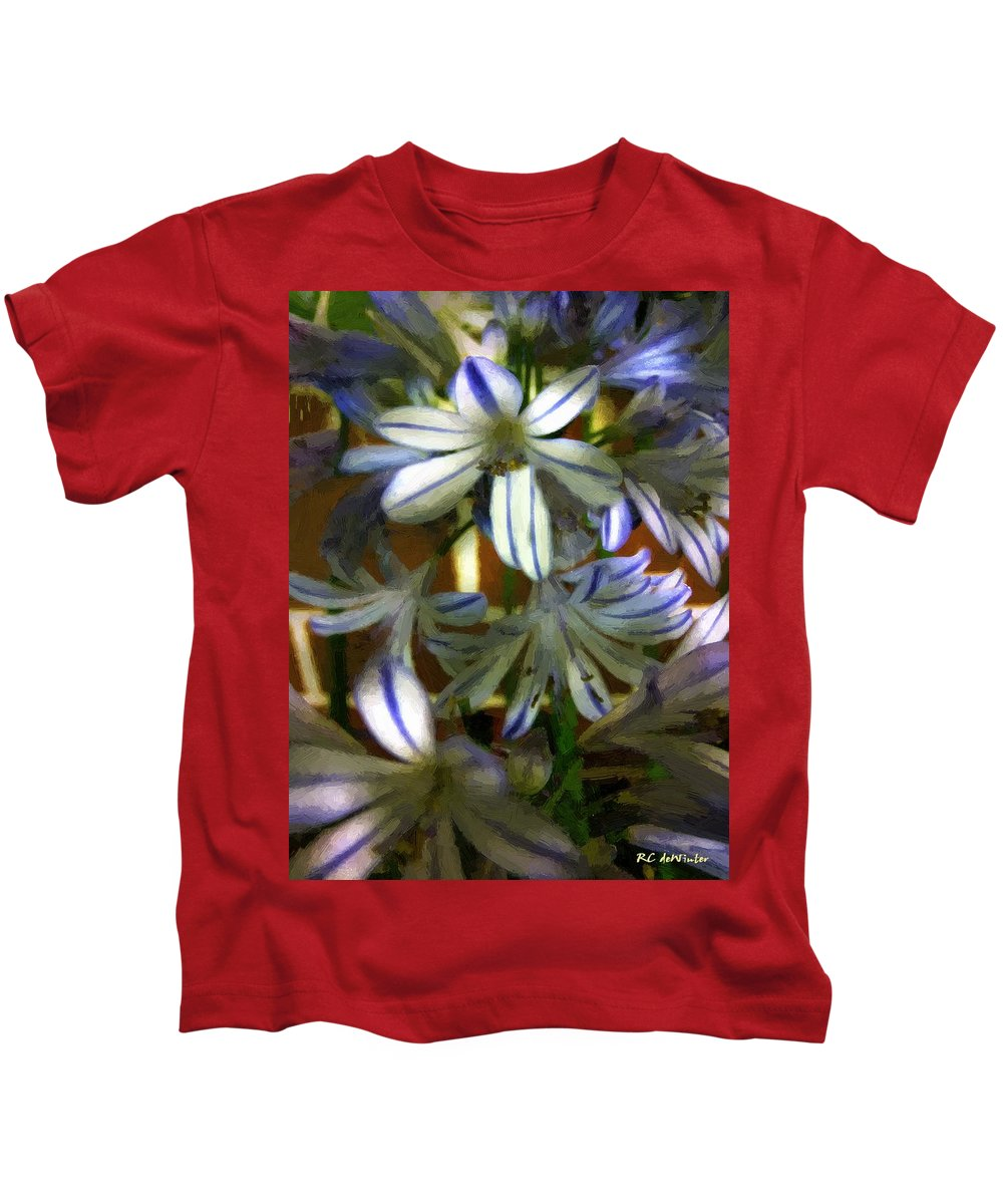 Floral Kids T-Shirt featuring the painting The Intransigent Beauty Of Blue by RC DeWinter
