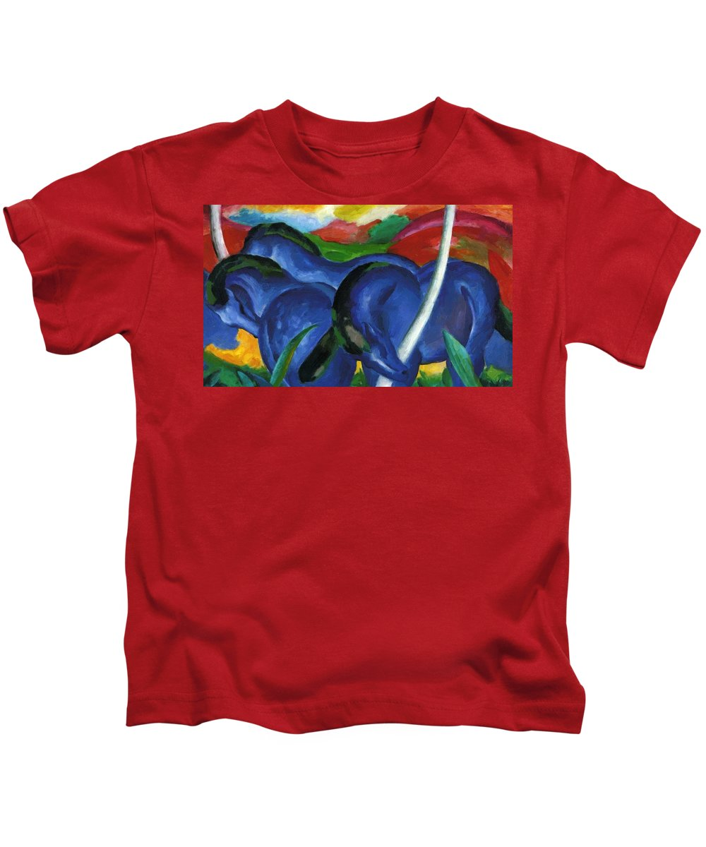 The Kids T-Shirt featuring the painting The Large Blue Horses 1911 by Marc Franz