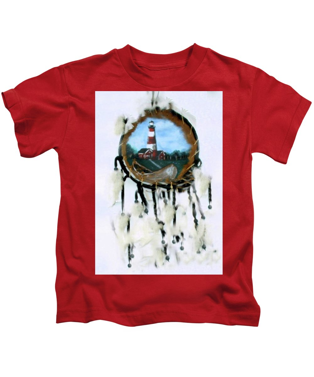 Lighthouse Kids T-Shirt featuring the photograph The Assateague Lighthouse by Barbara Hall Adkins