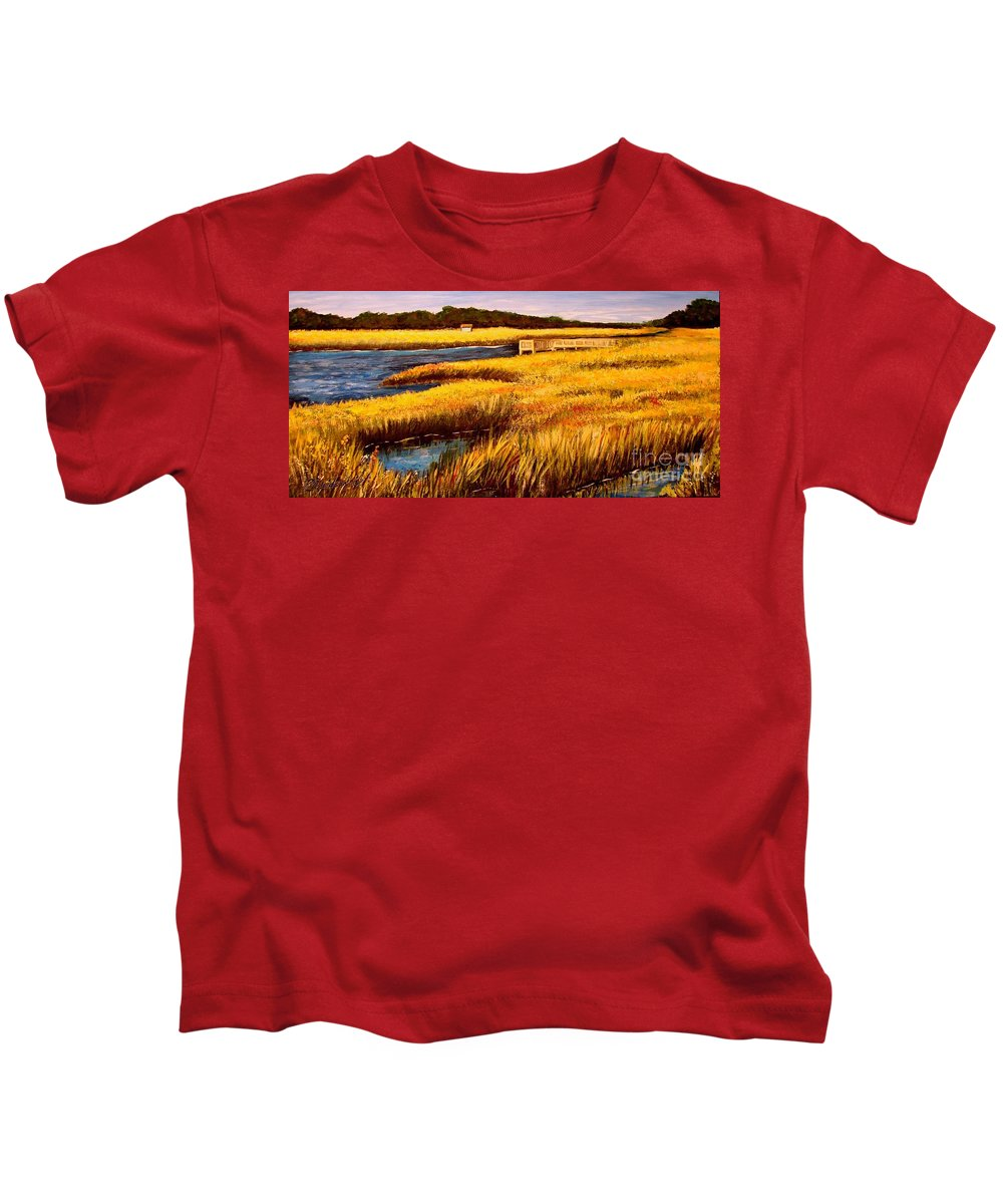 Beaches Kids T-Shirt featuring the painting The Marsh At Cherry Grove Myrtle Beach South Carolina by Patricia L Davidson