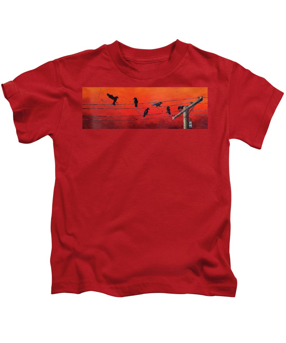 Nexus Kids T-Shirt featuring the painting The Nexus by Cindy Johnston
