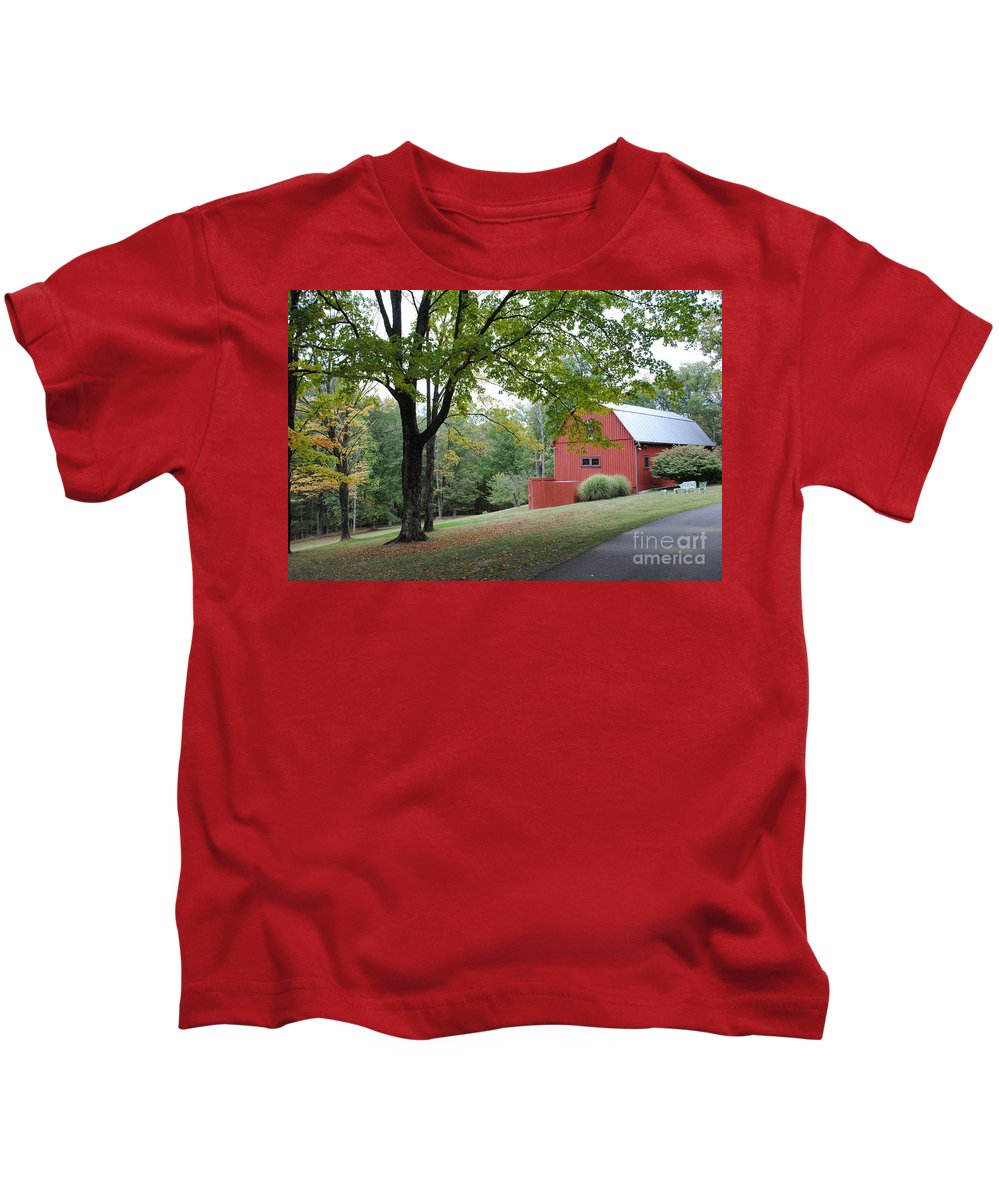Barn Kids T-Shirt featuring the photograph The Red Barn by Jost Houk