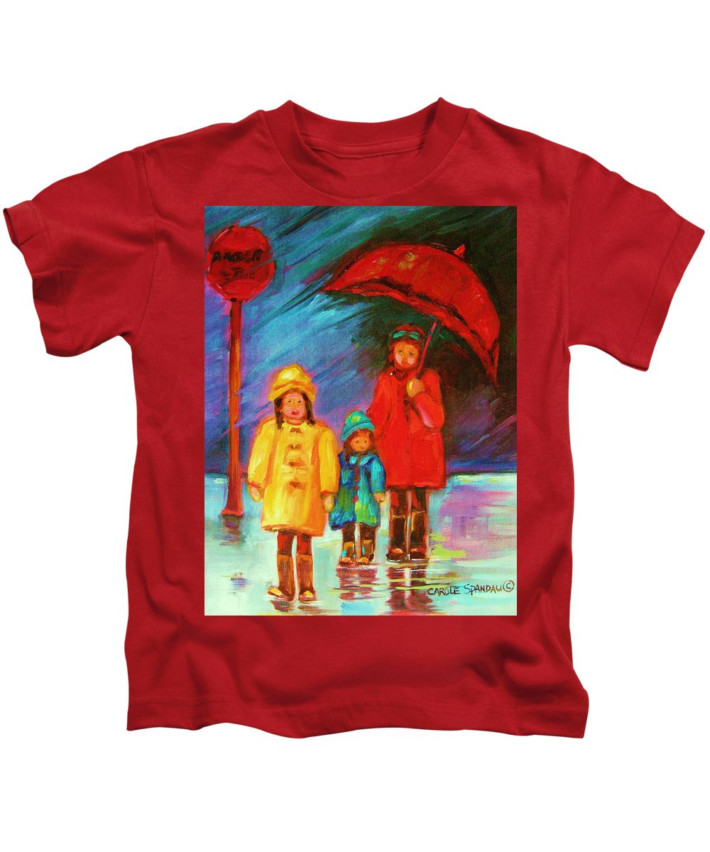 Rainy Day Kids T-Shirt featuring the painting The Red Umbrella by Carole Spandau
