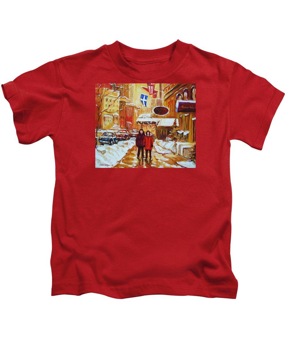 Streetscene Kids T-Shirt featuring the painting The Ritz Carlton by Carole Spandau