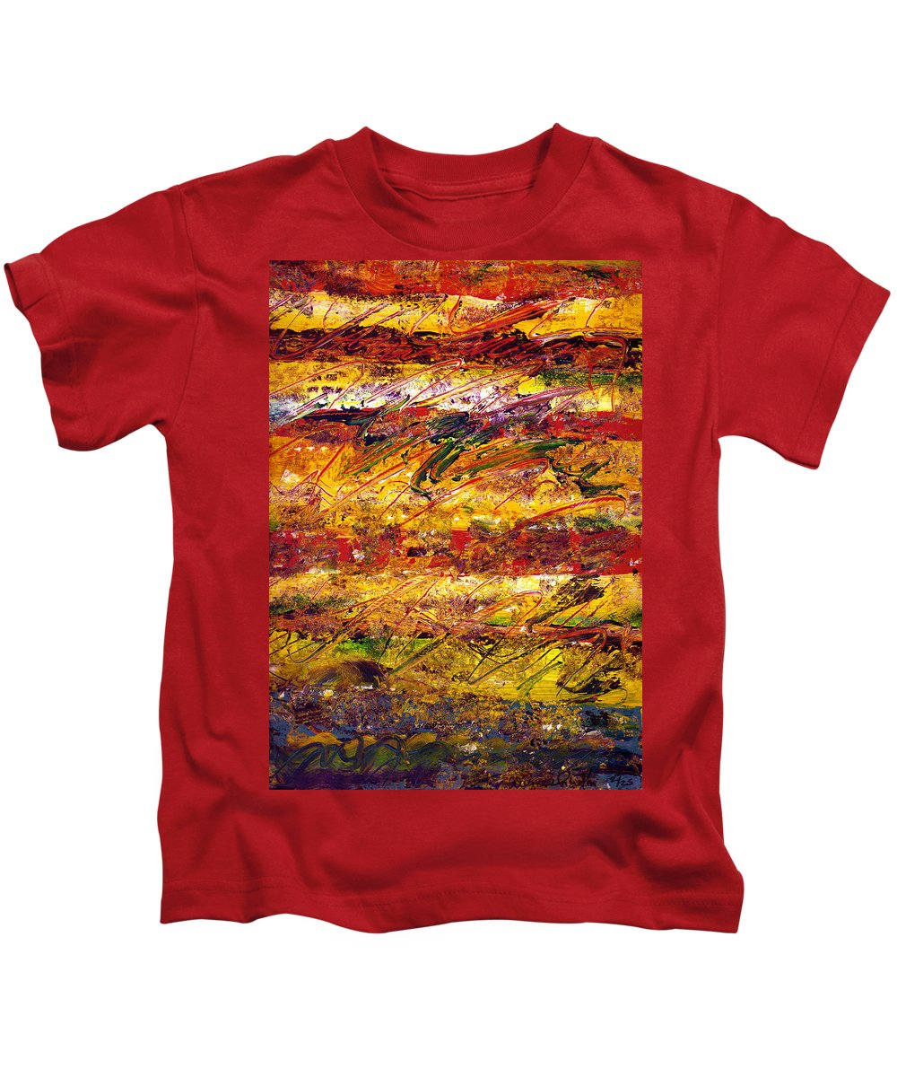 Abstract Kids T-Shirt featuring the painting The Sun Rose One Step At A Time by Wayne Potrafka