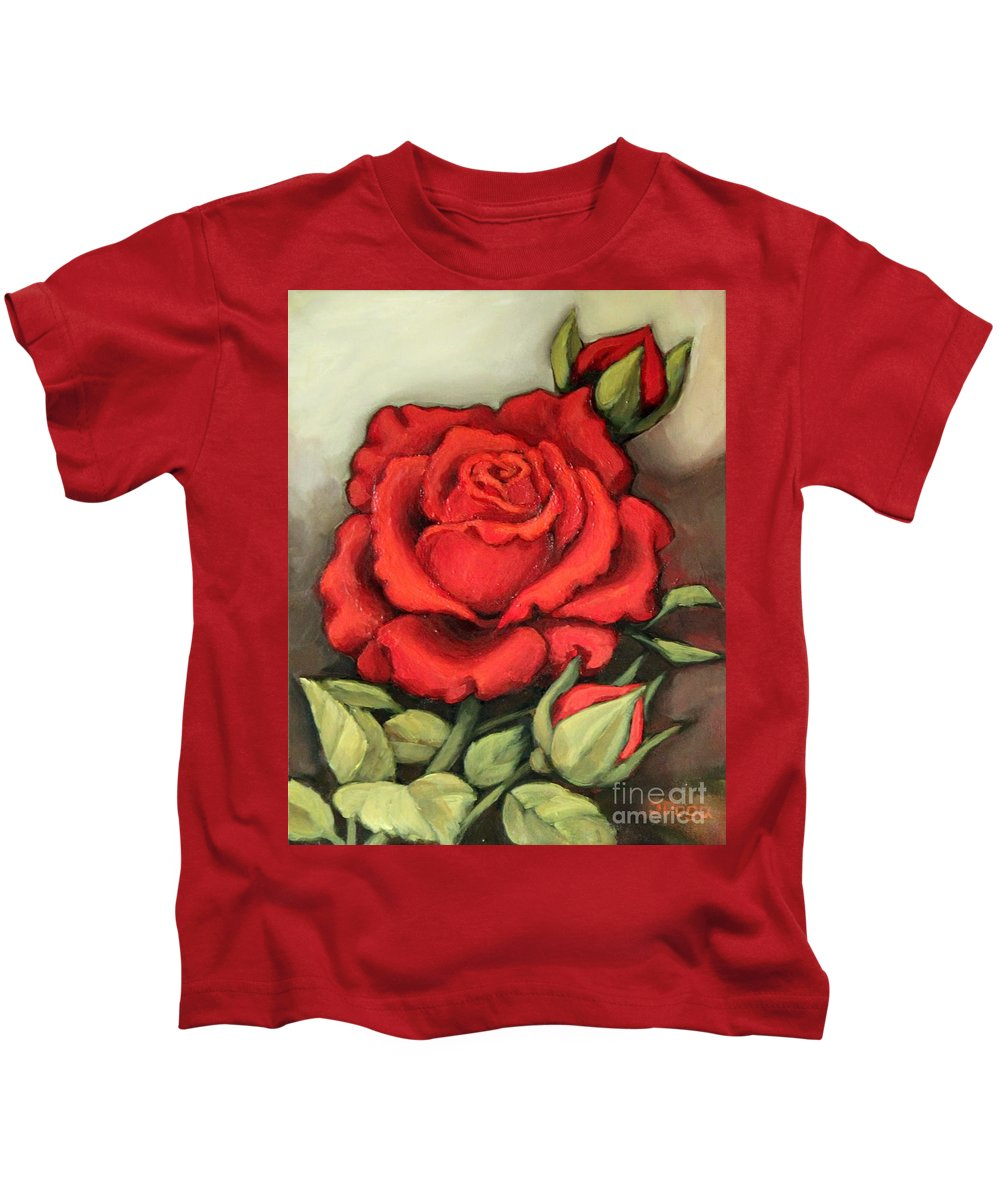 Rose Kids T-Shirt featuring the painting The Very Red Rose by Inese Poga