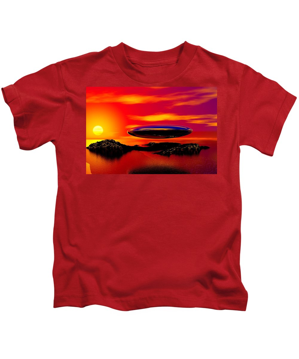 T Kids T-Shirt featuring the digital art The Visitor by David Lane