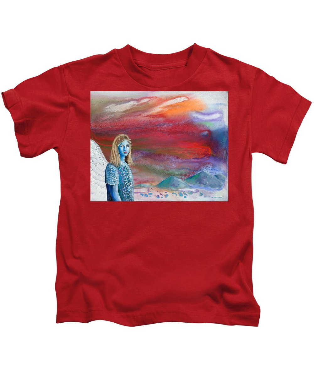 Angel Kids T-Shirt featuring the painting The Waiting by Lee Pantas