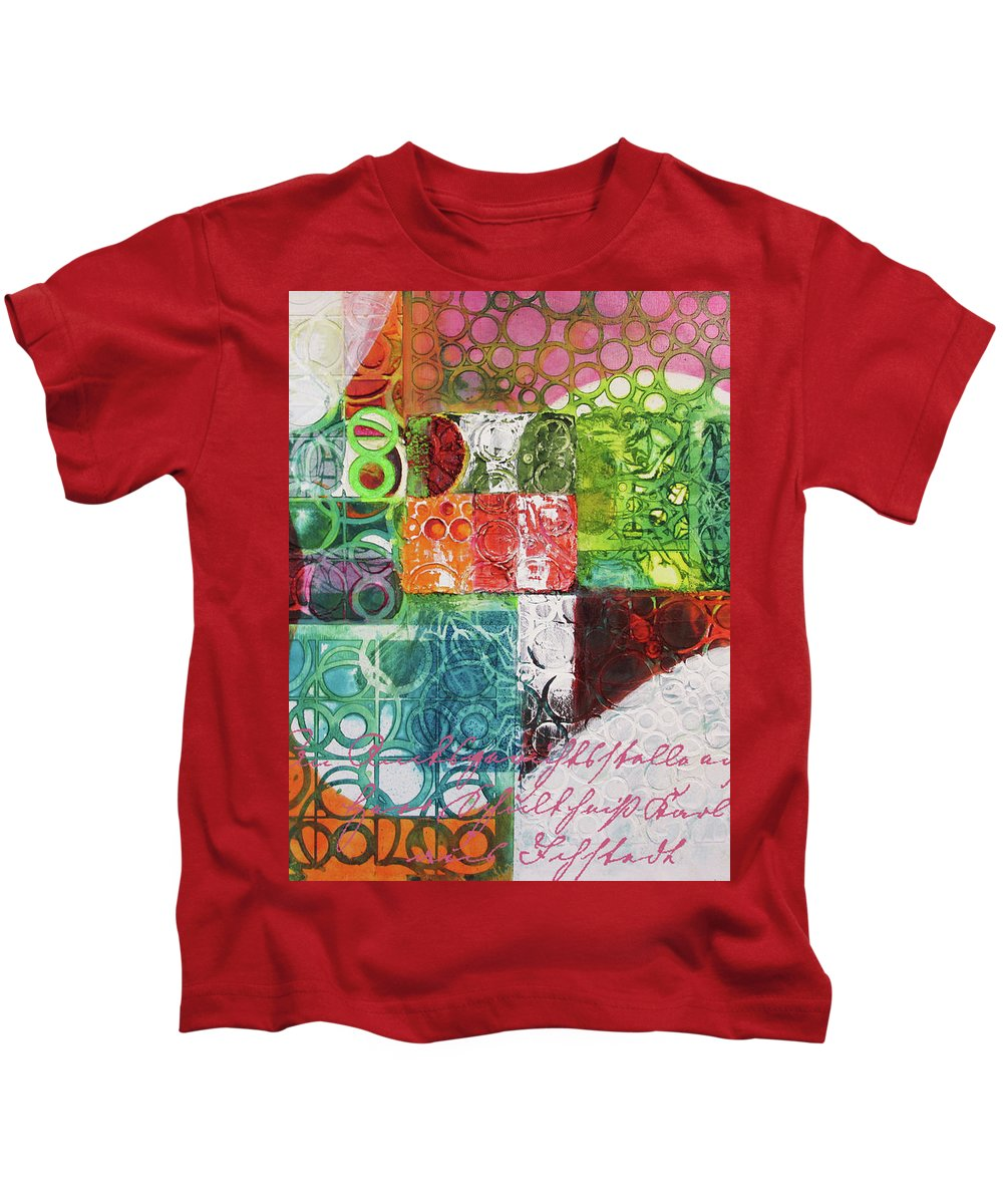 Abstract Kids T-Shirt featuring the painting The Wave 2 by Cecilia Swatton