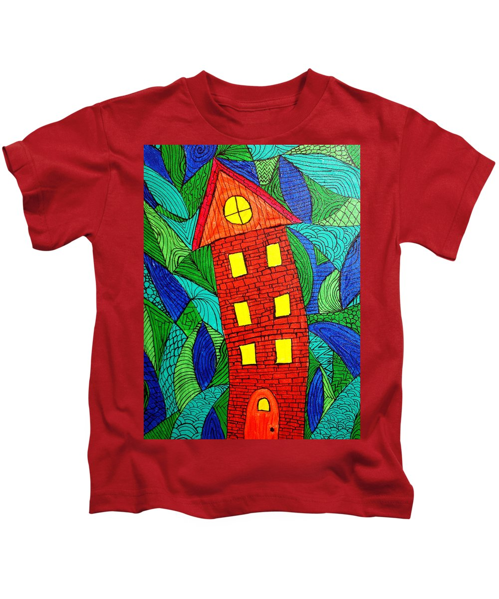 Geometric Patterns Kids T-Shirt featuring the painting There Was A Crooked House by Wayne Potrafka