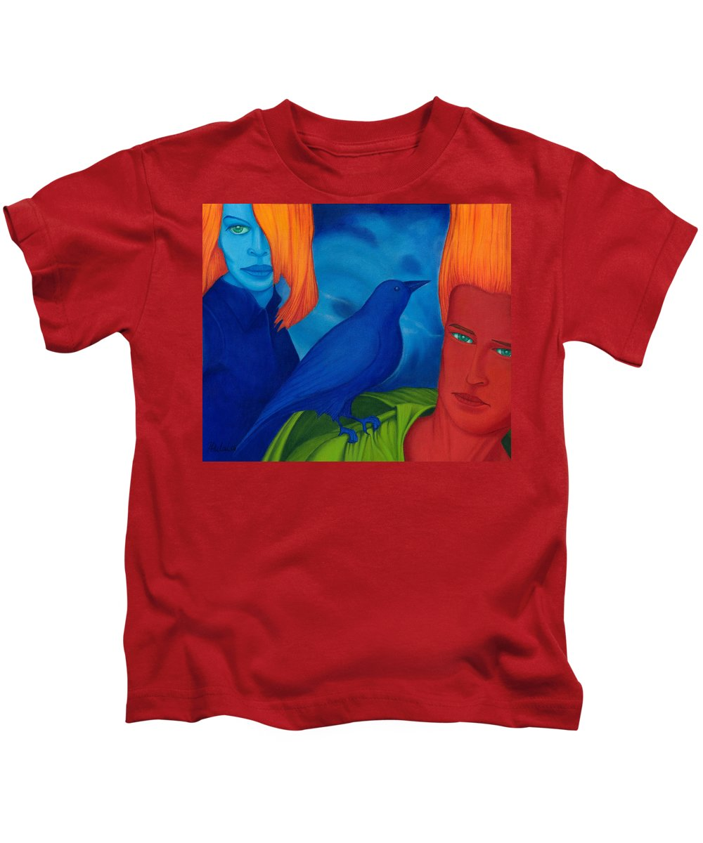 Surreal Kids T-Shirt featuring the painting Thinkng Abaut Separation. by Andrzej Pietal