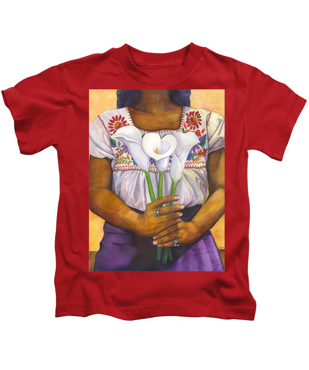 Lily Kids T-Shirt featuring the painting Three Calla Lilies by Catherine G McElroy