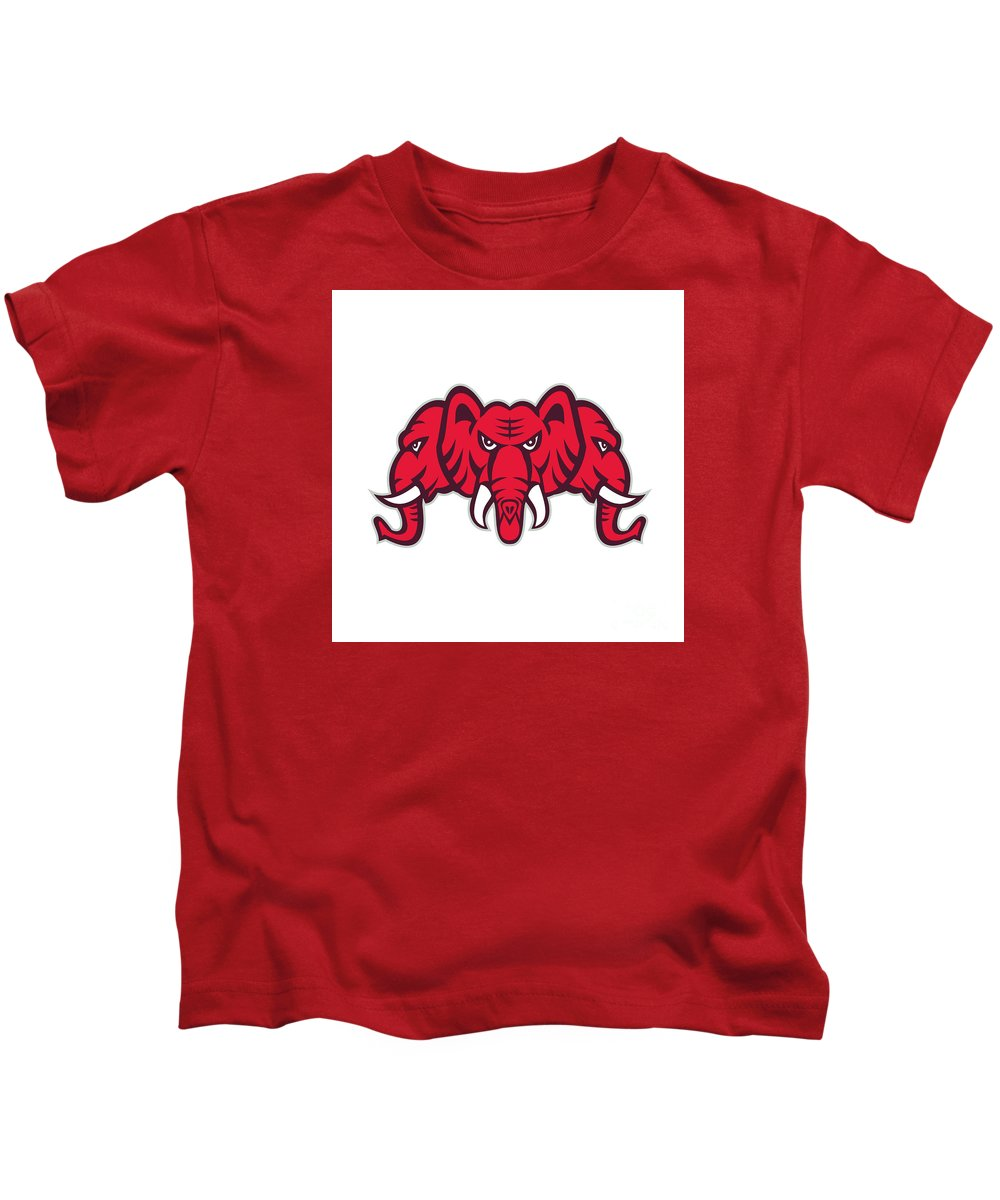 Three-headed Elephant Kids T-Shirt featuring the digital art Three Headed Elephant Retro by Aloysius Patrimonio