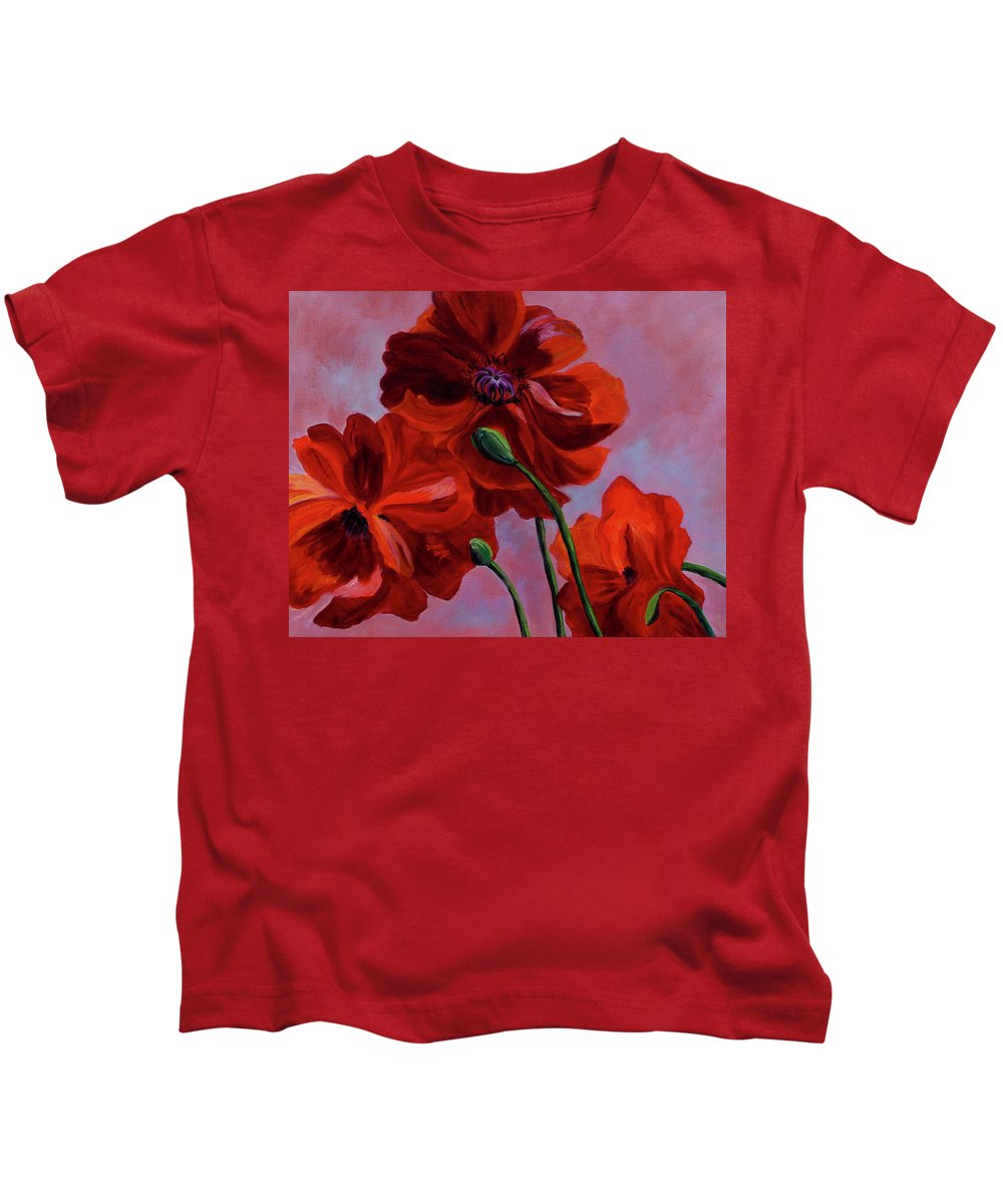 Floral Kids T-Shirt featuring the painting Three Oriental Poppies by Donna Drake