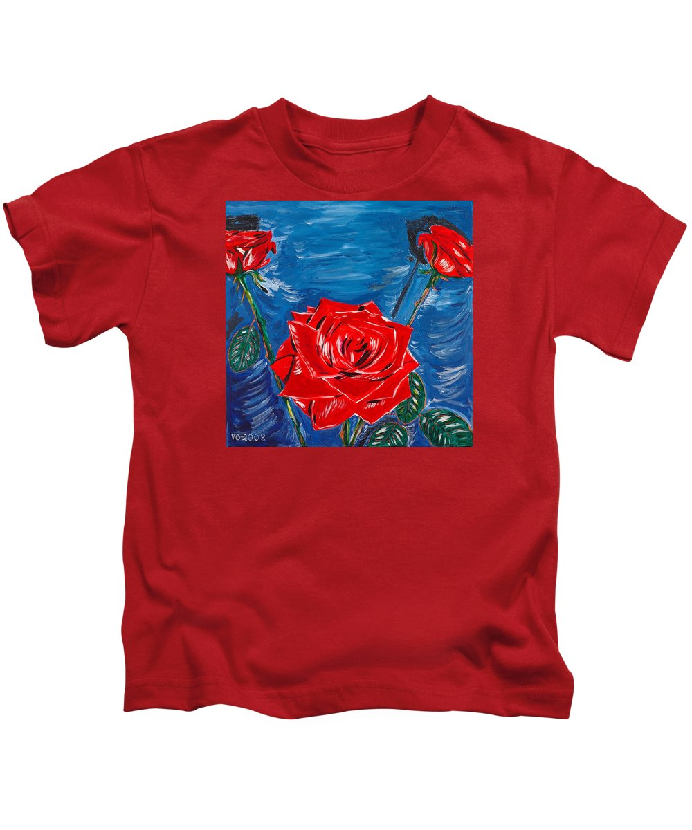 Rose Kids T-Shirt featuring the painting Three Red Roses Four Leaves by Valerie Ornstein