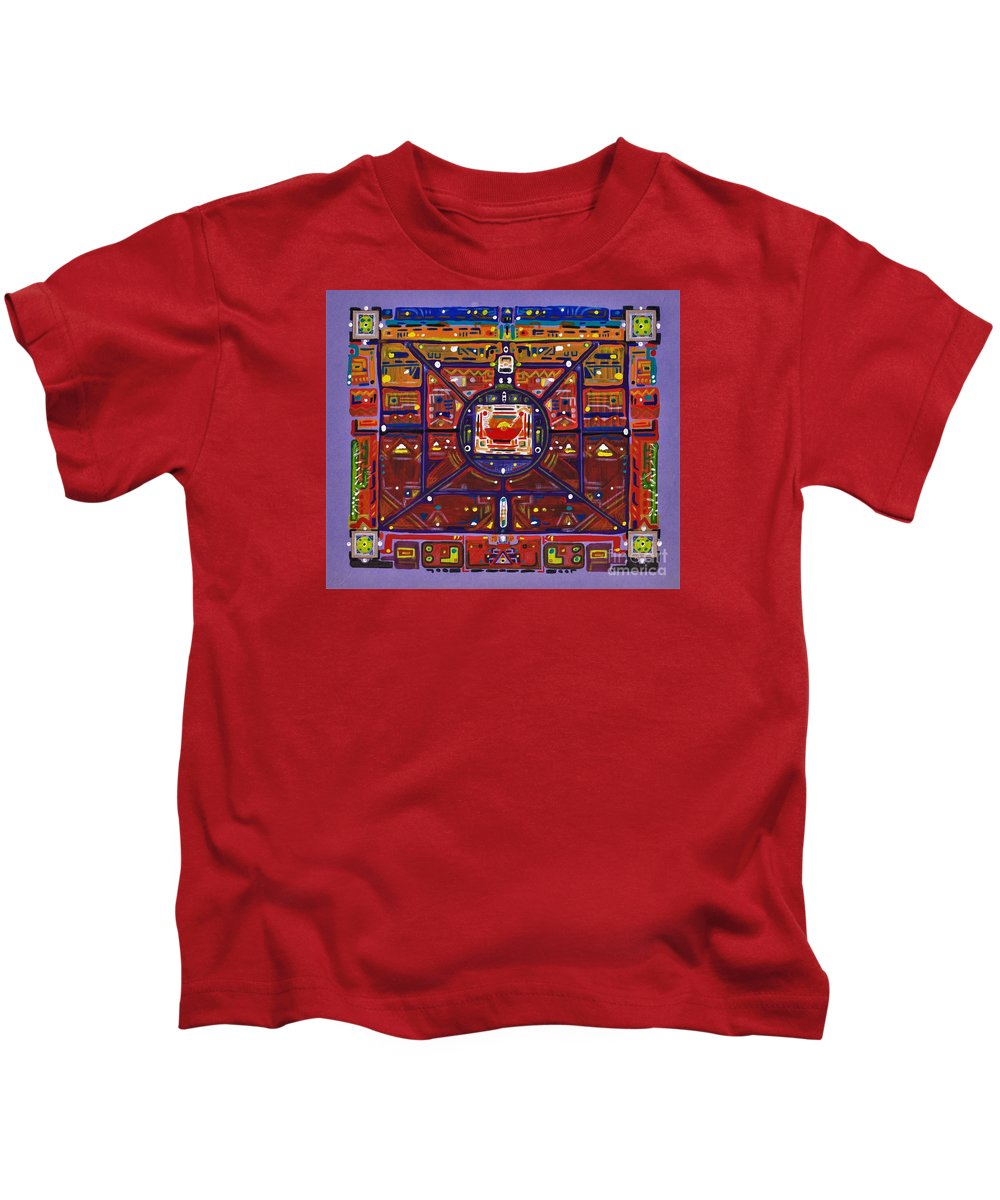Abstract Kids T-Shirt featuring the mixed media Tierra Roja by Felipe Perez