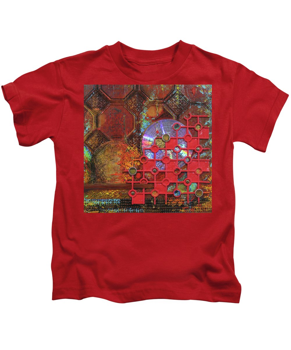 Assemblage Painting Kids T-Shirt featuring the painting Time Passage III by Elaine Booth-Kallweit