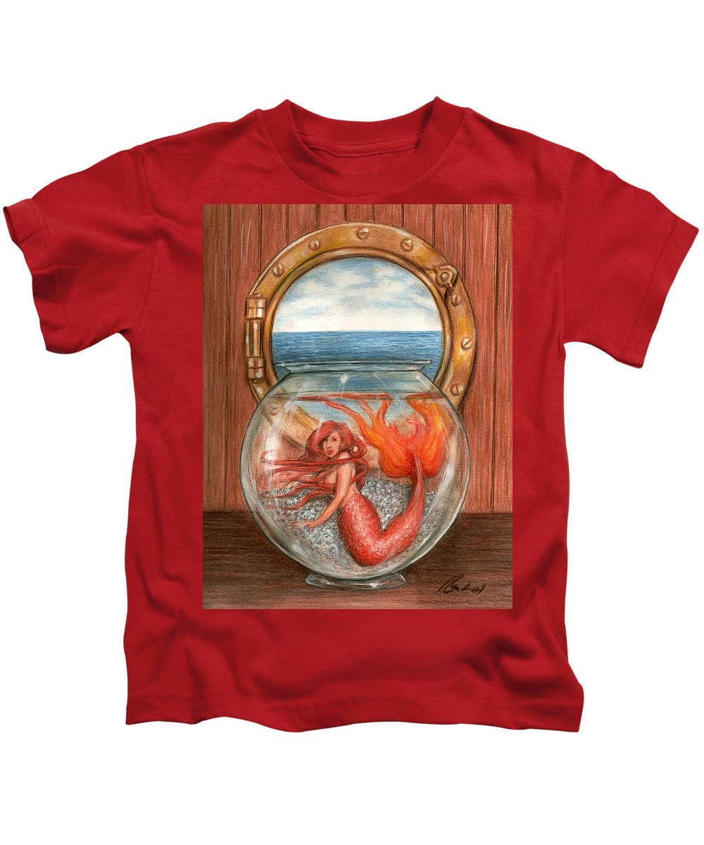 Mermaid Art Bruce Lennon Kids T-Shirt featuring the painting Tiny Mermaid by Bruce Lennon