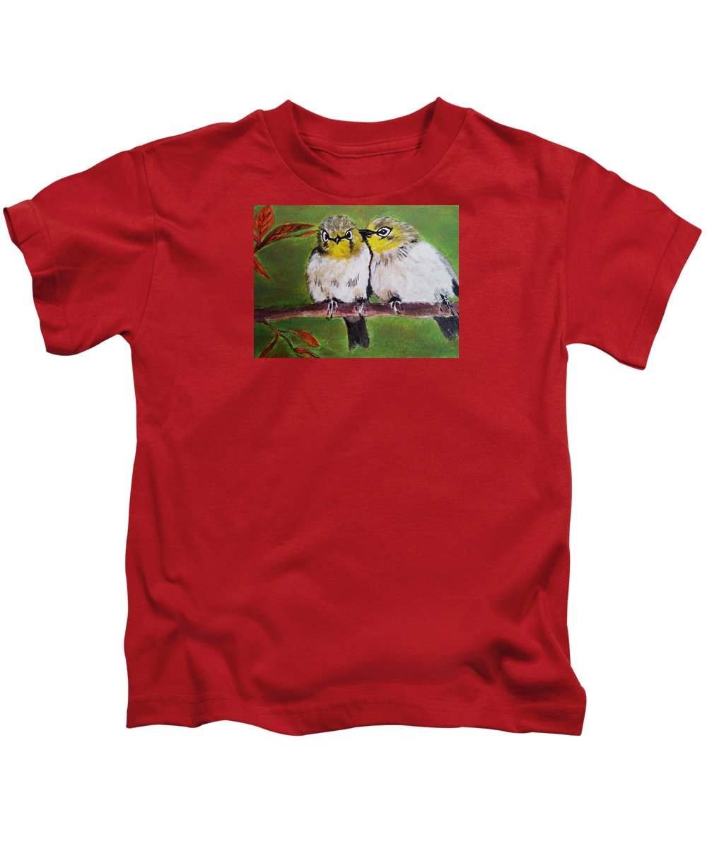 Finches Kids T-Shirt featuring the painting Togetherness by Vivian Casey