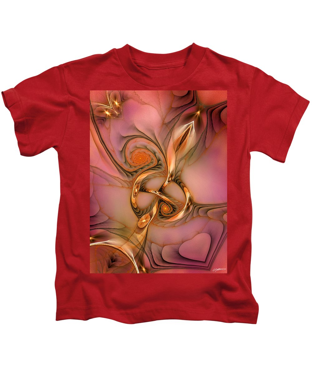 Abstract Kids T-Shirt featuring the digital art Transferring Affections by Casey Kotas