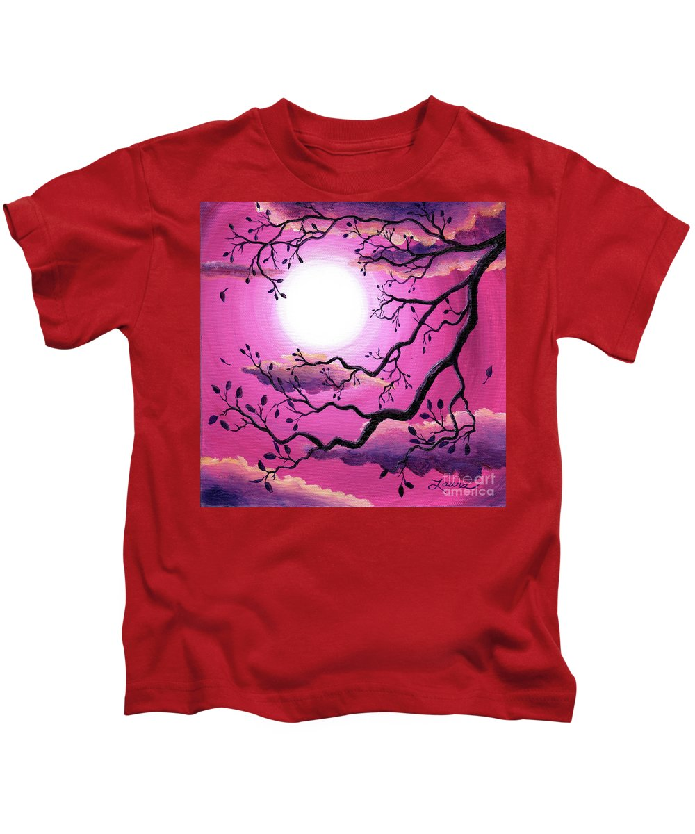 Zen Kids T-Shirt featuring the painting Tree Branch In Pink Moonlight by Laura Iverson