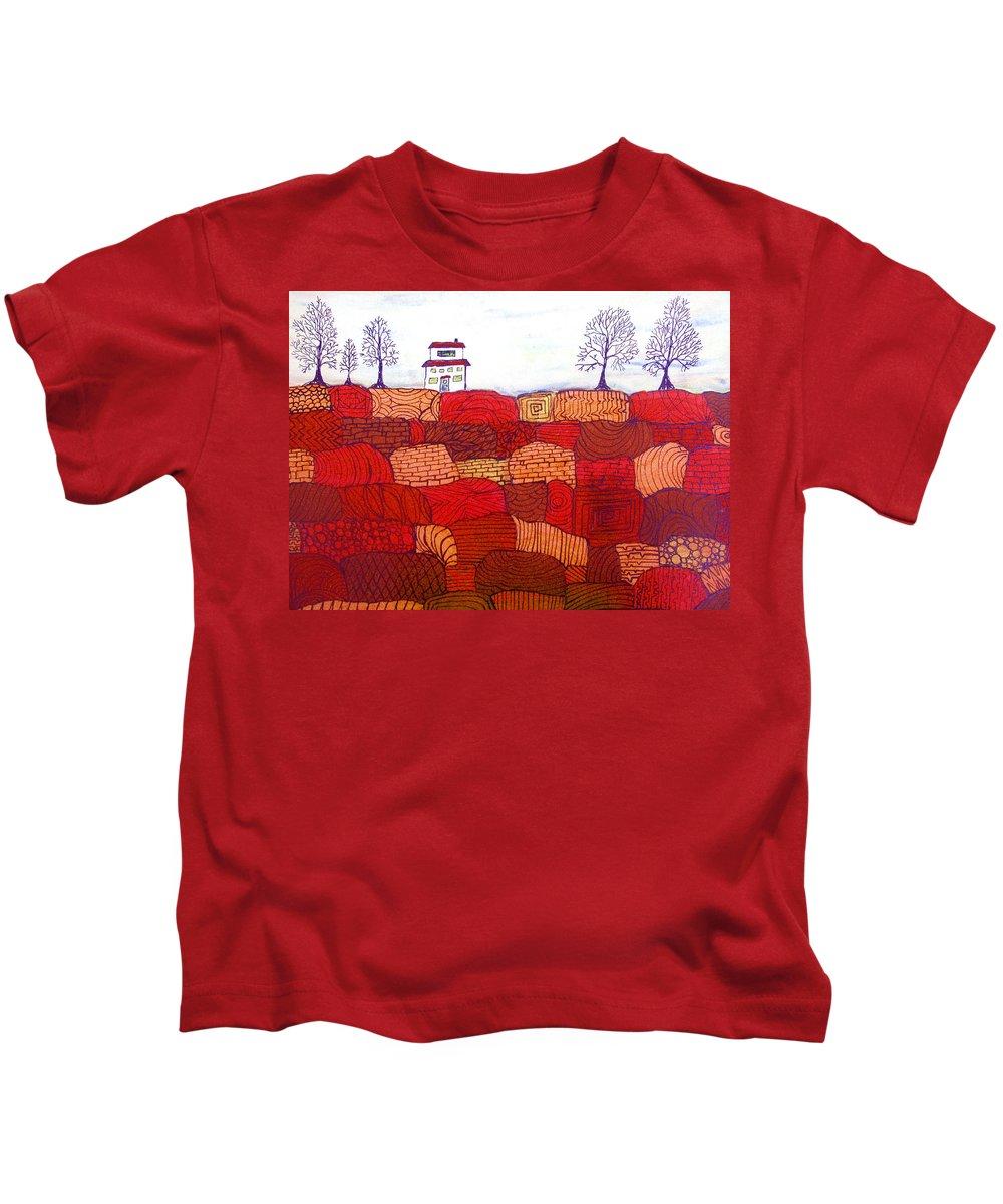 Farm Kids T-Shirt featuring the painting Tree Farm by Wayne Potrafka