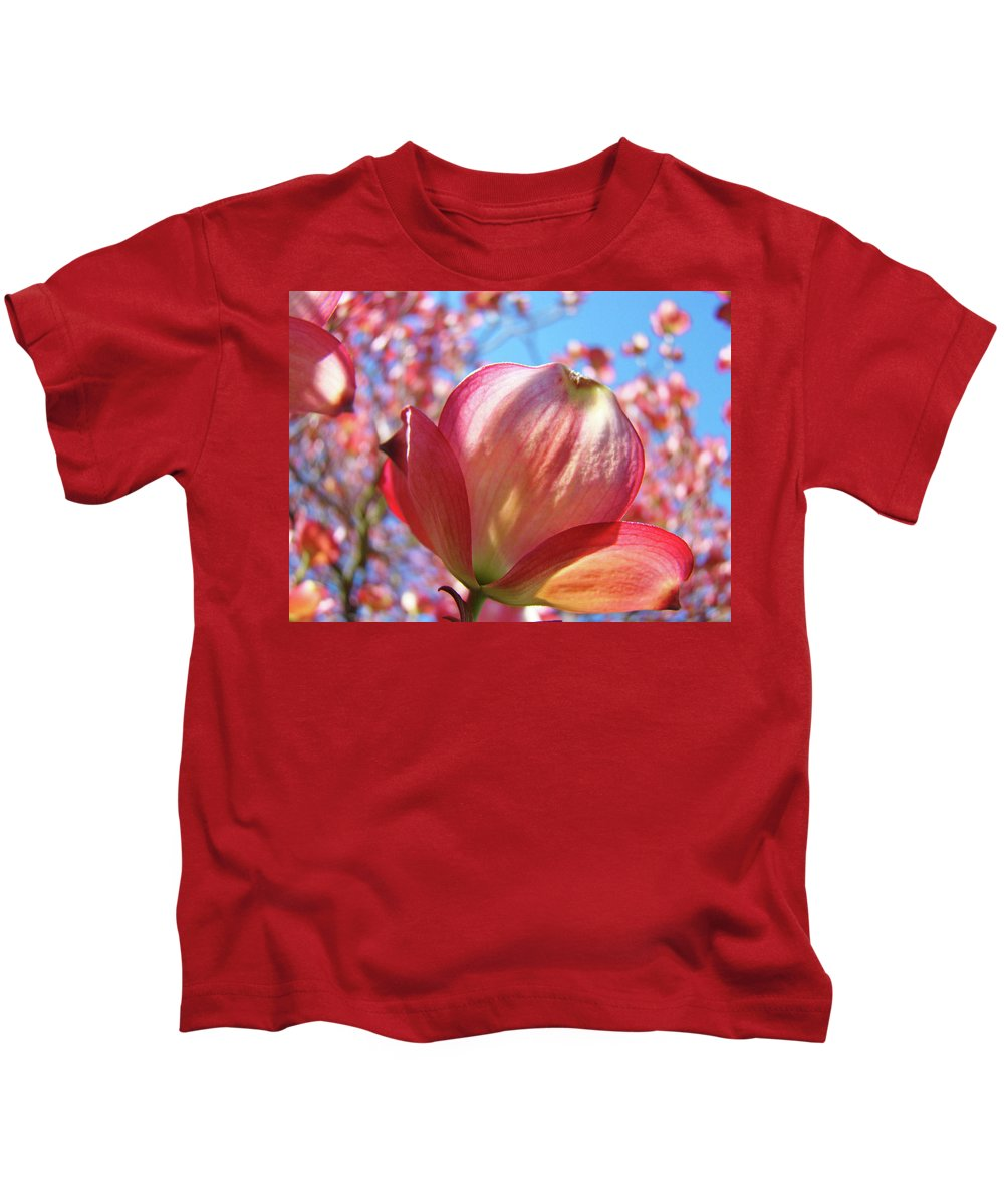 Dogwood Kids T-Shirt featuring the photograph Tree Flowers Pink Dogwood Flowers 5 Dogwood Trees Art Blue Sky Baslee Troutman by Baslee Troutman