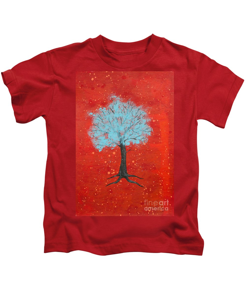 Tree Kids T-Shirt featuring the painting Nuclear Winter by Stefanie Forck