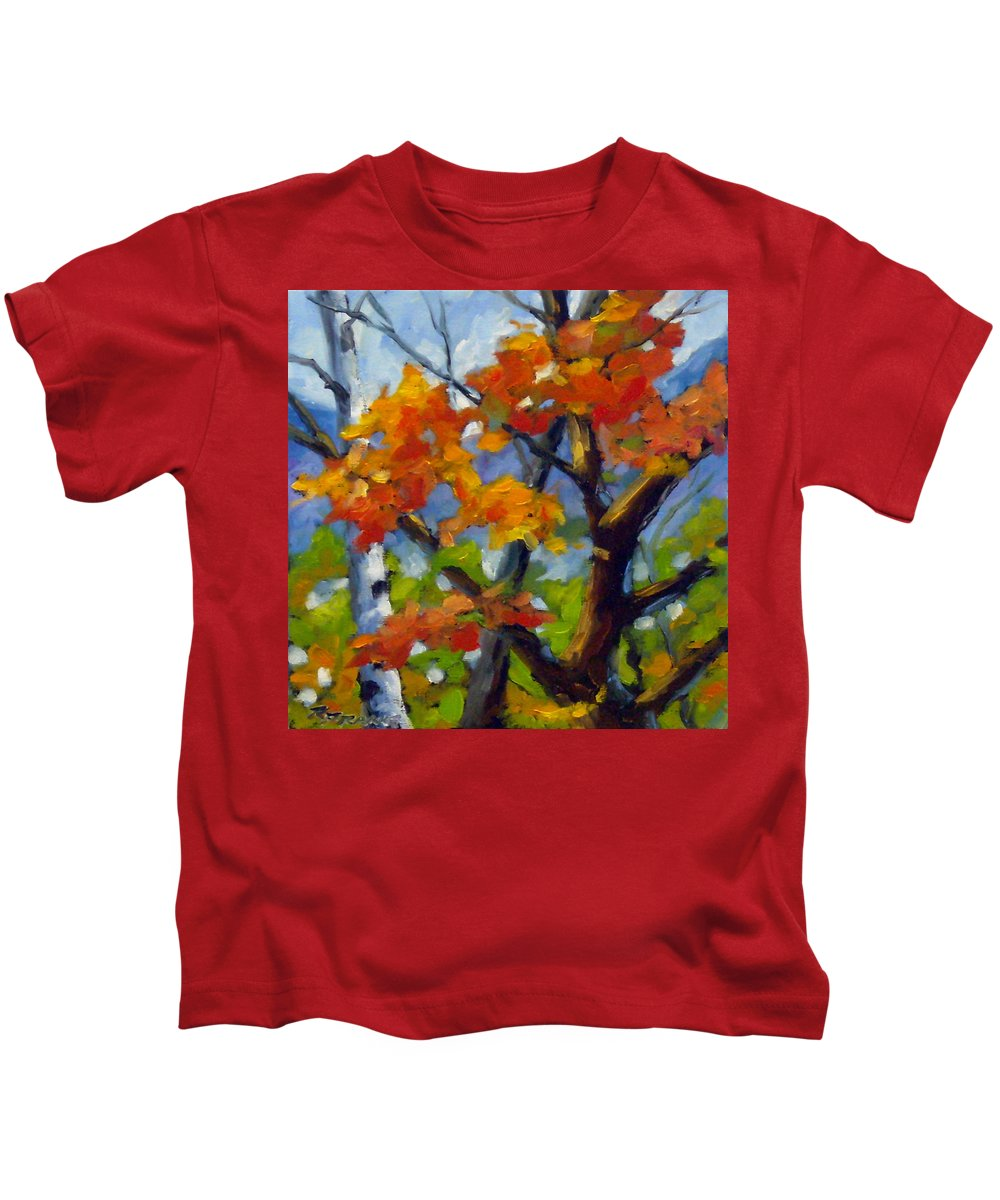 Art For Sale Kids T-Shirt featuring the painting Tree Tops by Richard T Pranke
