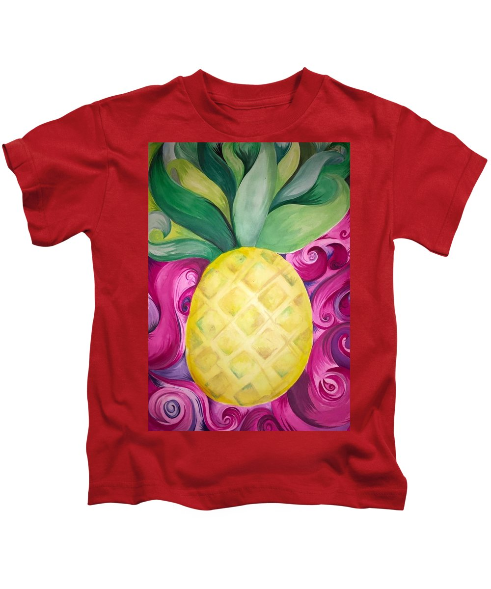 Pineapple Watercolor Trippy Colorful Pink Fruit Kids T-Shirt featuring the painting Trippy Pineapple by Gabby Fuller