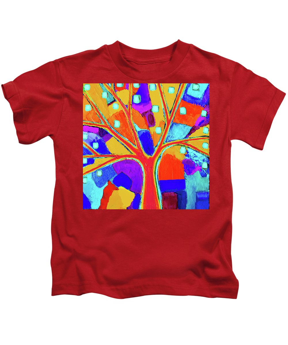 Tree Kids T-Shirt featuring the painting Trippy Tree by Stephen Humphries