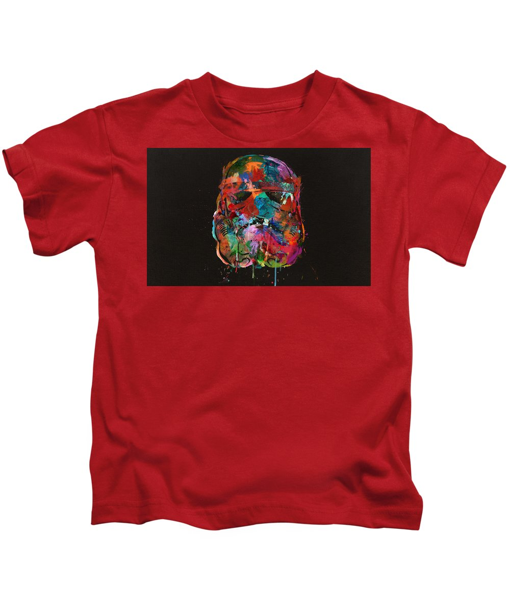 Stormtrooper Kids T-Shirt featuring the digital art Trooper In A Storm Of Color by Mitch Boyce