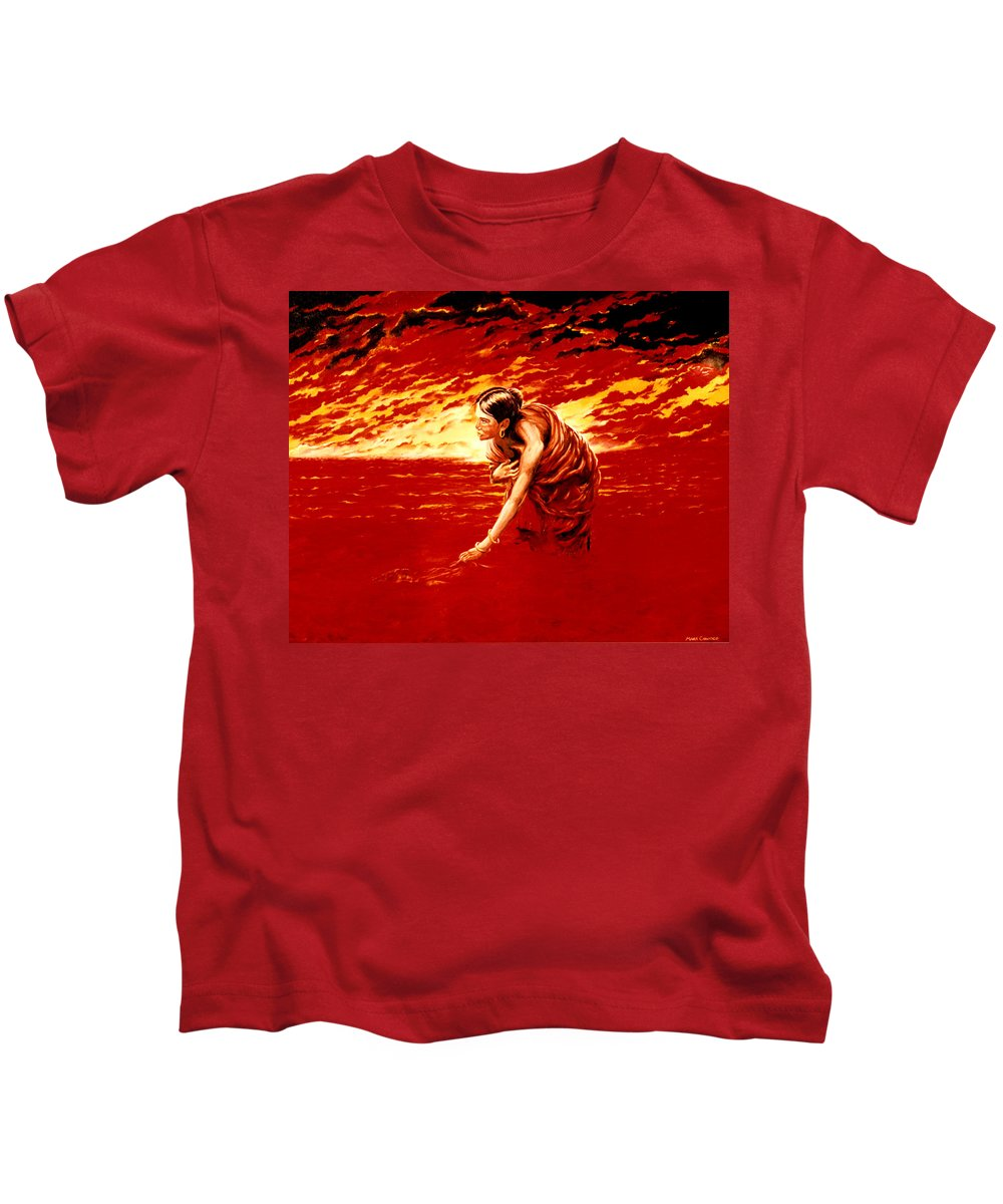 Seascape Kids T-Shirt featuring the painting Tsunami by Mark Cawood