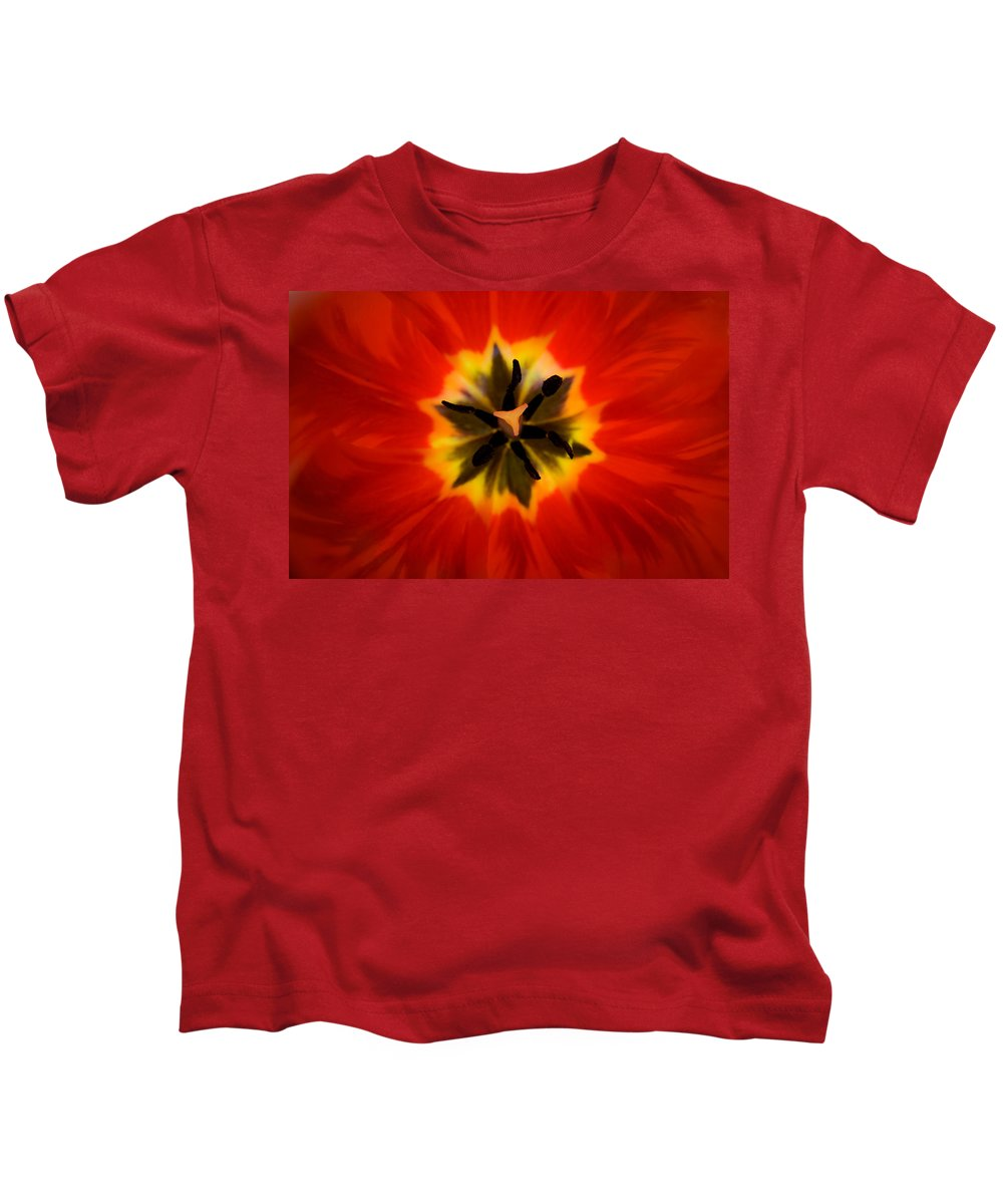 Tulip Kids T-Shirt featuring the photograph Tulip Explosion Kaleidoscope by Teresa Mucha